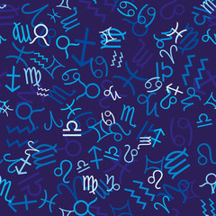 Blue seamless pattern with zodiac icons, vector