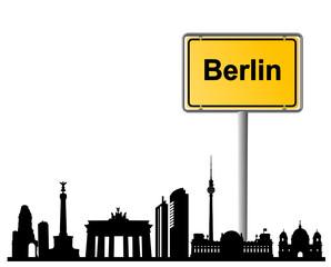 Berlin Ortsschild mit Skyline