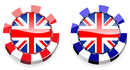 set of abstract uk casino chips isolated on white background