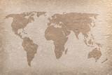 vintage world map paper craft poster