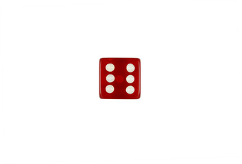 Red casino dice number six