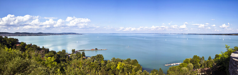 Lake Balaton, panoramic view from Tihany Abbey, Hungary