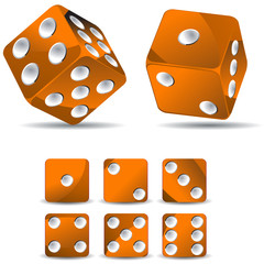 set of orange dices isolated on white background