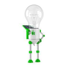 solar powered light bulb robot - thumbs up