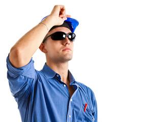 Engineer looking up