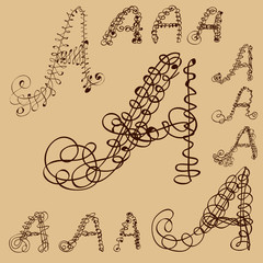 calligraphic letter A capital set