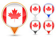 set of canada buttons isolated on white background