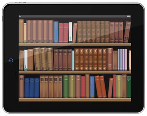 Digital Books. Book Shelf on Tablet PC.