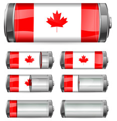 abstract canada battery with different levels of charging