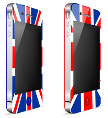 uk touch phone or tablet pc isolated on white background