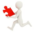 White man running with puzzle piece