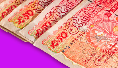 Fifty pounds sterling UK Currency with clipping path