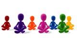 bunte Gruppe in Meditation versunken
