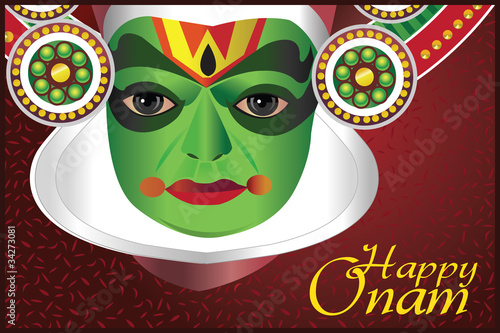 Onam wishes - Card with Indian kathakali dancer
