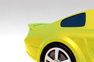 Tuned yellow car detail Render