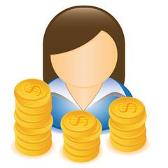 WOMAN MONEY DOLLAR ICON