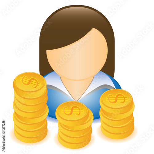 WOMAN MONEY DOLLAR ICON