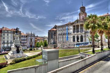 Infante D. Henrique Statue & Palácio da Bolsa, Porto, Portugal.