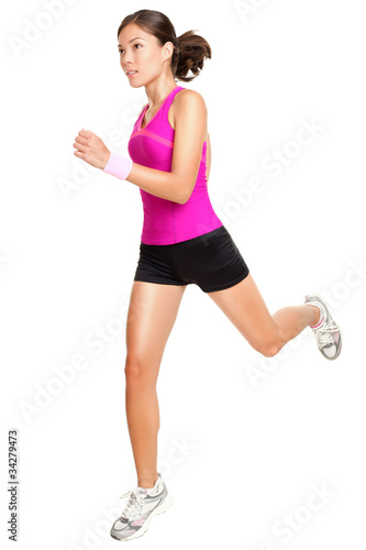 Running fitness woman isolated