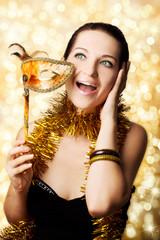 Beautiful woman with carnival mask