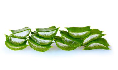 chopped leaf aloe vera isolated on white
