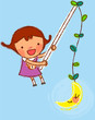 portrait of Girl holding stick with moon hanging on it