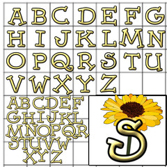 ABC Alphabet background sunflower dummy orange design