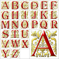 ABC Alphabet background aldus golden red design