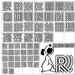 ABC Alphabet background dog radio black design