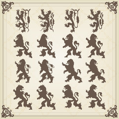 Vintage royal lions coat of arms illustration