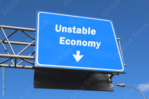 Unstable Economy - Highway sign