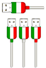 set of Italy usb isolated on white background