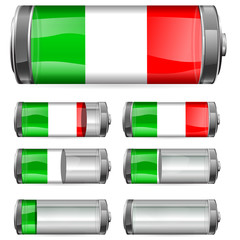 abstract Italy battery with different levels of charging