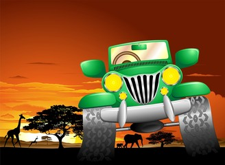 Geep Safari Savana Africana-Jeep Safari African Savannah-Vector