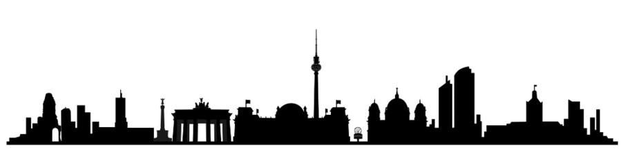 Berlin Skyline Wallpaper Schwarz Weiß