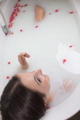 enjoying chocolate in milk bath