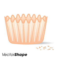 An empty muffin cake paper cup with food crumbs