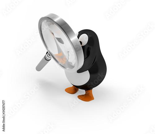 Pinguin mit Lupe/Vergrößerungsglas