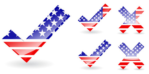 abstract america right and wrong isolate on white background