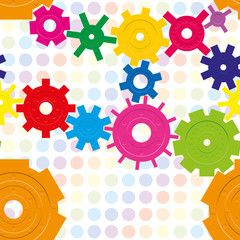 Seamless pattern with cogwheels on raindow background
