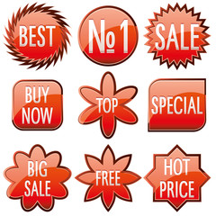 Set of red shiny sale buttons, vector illustration