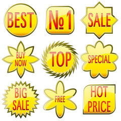 Set of shiny yellow glass sale buttons with red text, vector