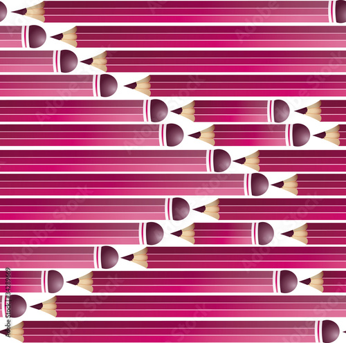 Seamless background with pink pencils, vector illustration