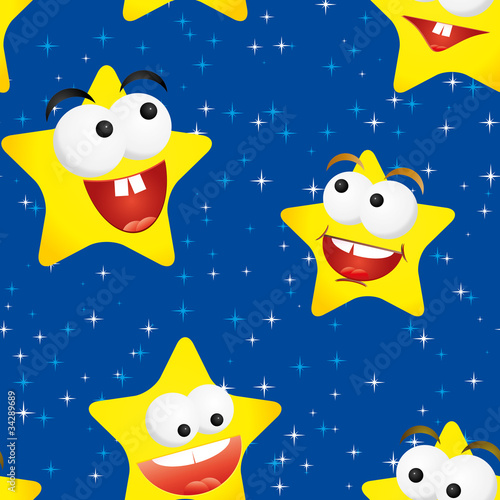 Funny stars in the night sky, seamless background