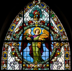 Stained glass window depicting an angel in Stockholm