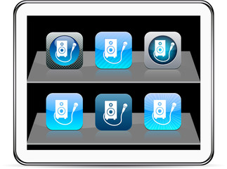 Karaoke blue app icons.