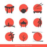 Fototapety Japanese theme icons set