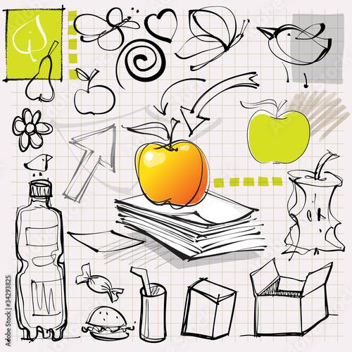 doodles (apples, fruits, etc.)