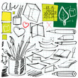 back to school doodles (pen, pencils, book, paper etc.)