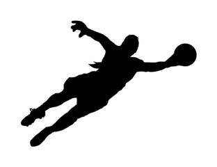 Fussballtorwartin – Hechtsprung